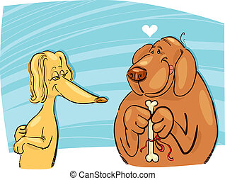 Dog in love - Illustration of dog in love giving gift to his...