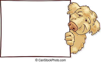Shaggy dog with card - Illustration of Shaggy dog with card