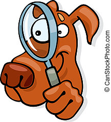 Dog with magnifying glass - Illustration of dog with...