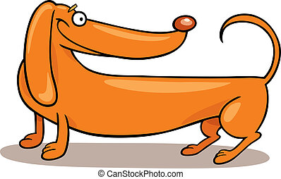 Dachshund Dog - Cartoon illustration of purebred Dachshund...