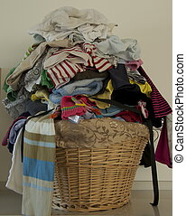Un-ironed washing pile - A variety of washed clothing ready...