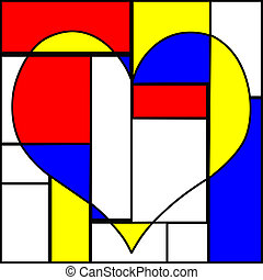abstract colorful heart - abstract heart made with pieces of...