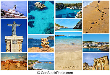 collage with different views of Menorca, Balearic Islands,...