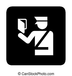 Immigration sign - Immigration official with passport, sign...