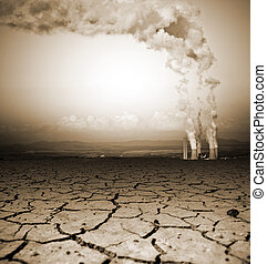 Global Warming - Badly cracked earth with power station