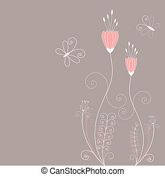 Abstract springtime flowers greeting card