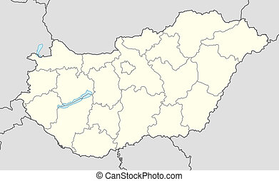 Hungary map - Illustration of country of Hungary map showing...