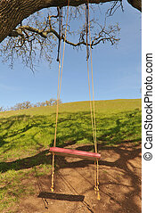 Red tree swing hangs from a large oak branch - Red tree...
