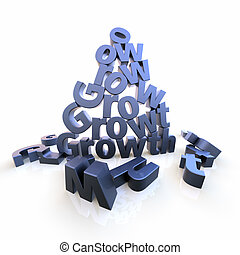Growth pyramid with dropped letters - The word Growth as...