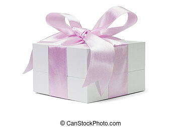 White gift box with pink bow ribbon