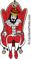 king of burger - A king sitting on a throne holding a beer...