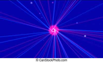 electron dots flying to atomic nucleus launch ray laser...