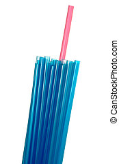 Red drinking straw standing out from a bunch of blue ones