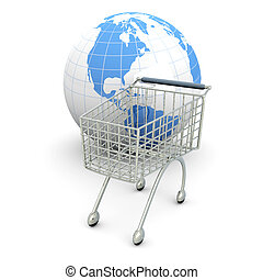 Global Shopping	 - 3D rendered Illustration.