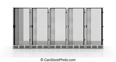Server Towers - 3D rendered Illustration. Isolated on white....