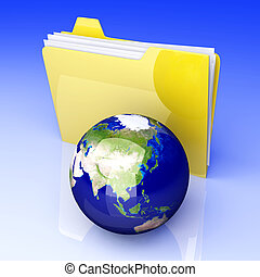 Global Folder - Asia - 3D rendered Illustration. Global...