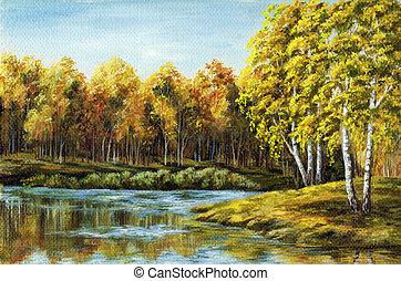 Autumn lake - Landscape, picture oil paints on a canvas:...