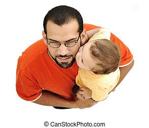 beijando, pai, bebê, filho, tocando, junto, isolado,...