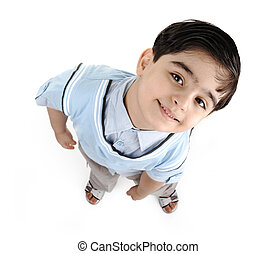 Cute little preschool boy isolated on white, mixed race, arabic white - african american