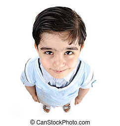 Cute little preschool boy isolated on white, mixed race,...