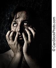 Closeup portrait of sad depressed desperate and lonely man