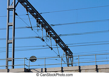 Railway gantry with high voltage cables and insulators...