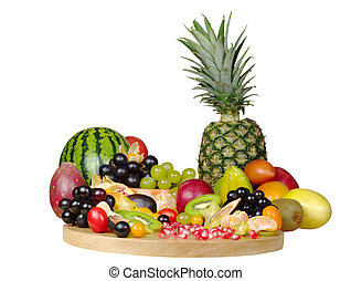 Un, grande, variedad, exótico, frutas, de madera, tabla,...