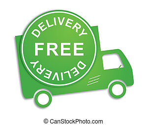 Free delivery truck in green