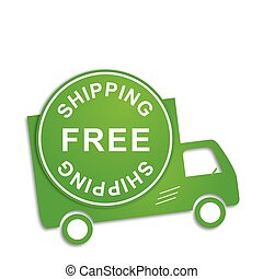 Free shipping truck in green