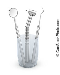 Dental instruments: mirror, probe and drill. Isolated on...