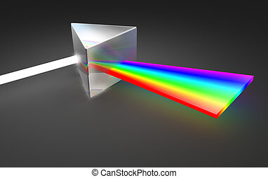 Prism light spectrum dispersion On dark background
