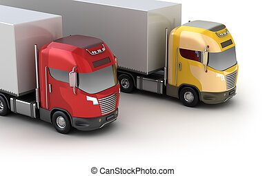 Trucks. Isometric view. Isolated on white. My own design