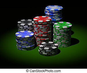 Gambling chips in piles On black background