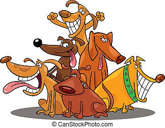 funny dogs - cartoon illustration of funny dogs group