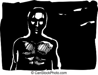 Man contour in shadow