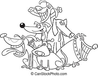 funny dogs for coloring - cartoon illustration of funny dogs...