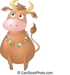 Cow with flowers - Beautiful pensive cow with a necklace...