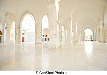 Madina mosque empty, conceptual indoor of oriental building....