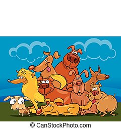 cartoon dogs group - illustration of cartoon dogs group