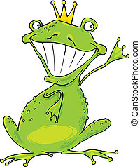 prince frog - cartoon illustration of funny prince frog