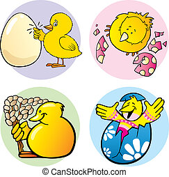 easter chicks - cartoon illustration of easter chicks...