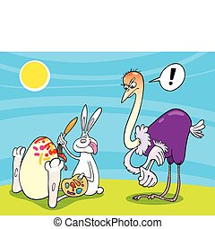 Easter bunny and Ostrich - Illustration of Easter Bunny...