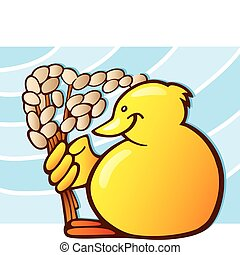 Easter chick with catkin - Illustration of little yellow...