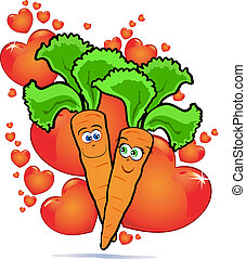 Vegetables in love - A couple of funny love carrots on a...