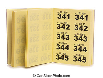 yellow raffle ticket book studio cutout