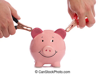 Piggy bank with man holding battery charger clips