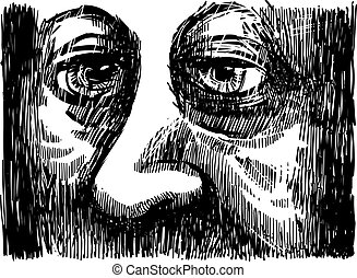 Old Man Eyes - Drawing Illustration of old Man Eyes