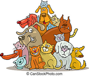 Cats and Dogs group - Illustration of Cats and Dogs group in...