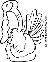 Cartoon turkey for coloring book