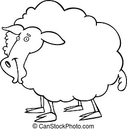 Sheep for coloring book - illustration of farm sheep for...